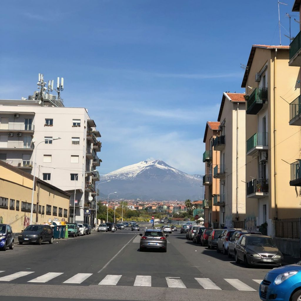 View of Mt. Etna on my walk to Savoca's workshop