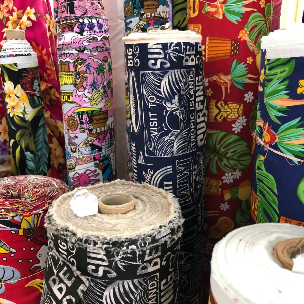 Hawaiian shirt fabrics at Fabric Mart. Photo credit: Juhn Maing